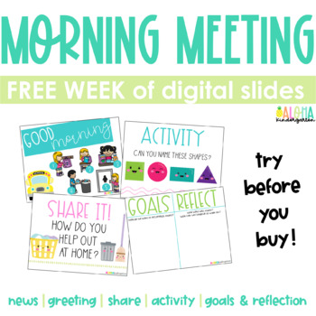 Morning Meeting Slides | in-person + virtual learning | ONE FREE WEEK