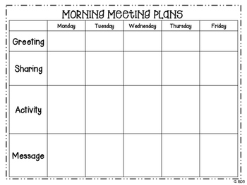 Morning Meeting Plan Template