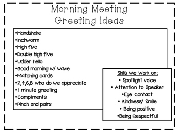 Morning Meeting Planning Sheets