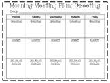 Morning Meeting Planning Sheets