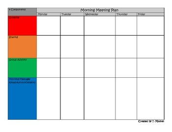 Morning meeting planning template by refined teaching tpt for Morning meeting lesson plan template