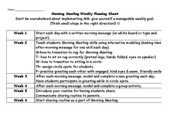 Morning Meeting Planning Template