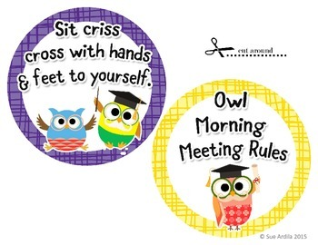 Morning Meeting Posters Owl Theme