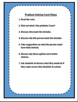 Morning Meeting Problem Solving Cards