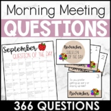 Morning Meeting Question of the Day Calendar and Cards