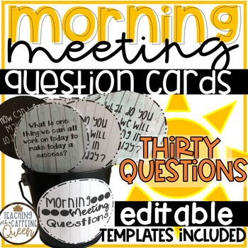 Morning Meeting Questions (Rustic/Farmhouse Theme) + EDITABLE Templates