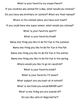 Morning Meeting Questions/Writing prompts FREEBIE