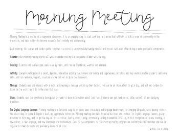 Morning Meeting Routine