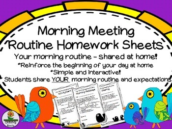 Morning Meeting Routine Sheets