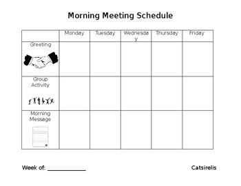 Morning Meeting Schedule