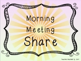 Morning Meeting Share Cards