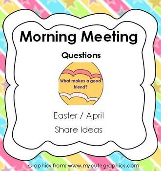 Morning Meeting Share Questions for April and Easter