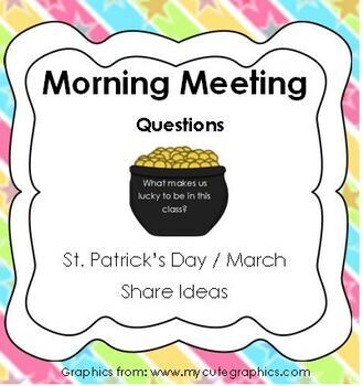 Morning Meeting Share Questions for March and St. Patrick's Day