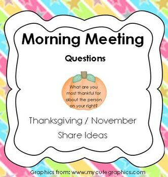 Morning Meeting Share Questions for November / Thanksgiving