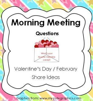 Morning Meeting Share Questions for Valentines Day and February