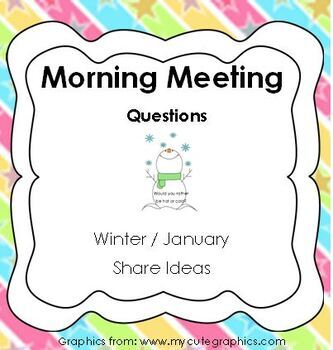 Morning Meeting Share Questions for Winter and January