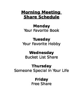 Morning Meeting Share Schedule
