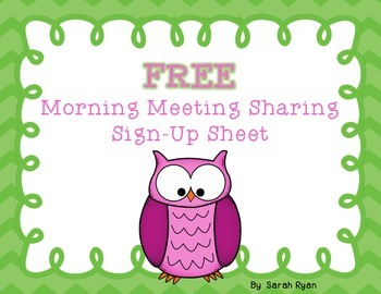 Morning Meeting Share Sign Up FREEBIE!