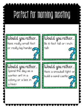 Morning Meeting Share: Would You Rather