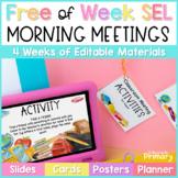 Morning Meeting Social-Emotional Learning - FREE Week - Slides & Printable Cards