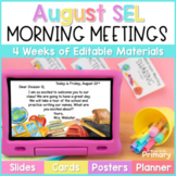 Morning Meeting Social-Emotional Learning - Slides, Cards,