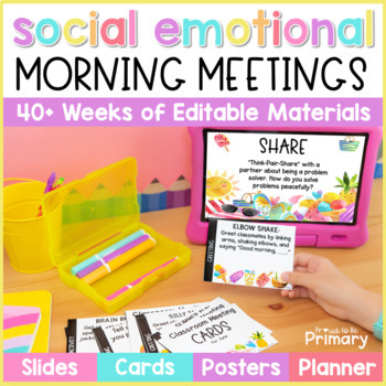 Morning Meeting Social-Emotional Learning Slides + Cards for the ENTIRE YEAR
