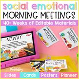 Morning Meeting Social Emotional Learning Slides + Cards |
