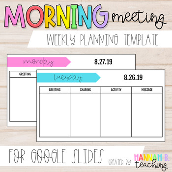 graphic relating to Weekly Planning Templates titled Early morning Conference Weekly Developing Template for Google Slides