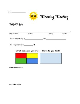 Morning Meeting Workpage *NEW*