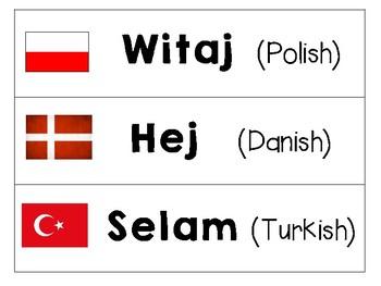 Morning Meeting World Language Cards: Hello