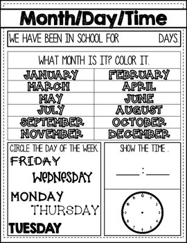 Morning Meeting - calendar & math
