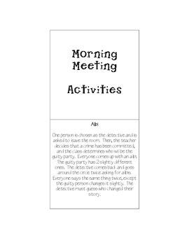 Morning Meetings Activities Flip Book