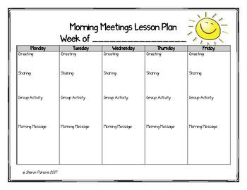 Morning Meetings Lesson Plan Template