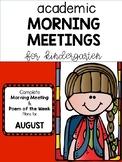 Kindergarten Academic Morning Meetings/ Poem of the Week AUGUST