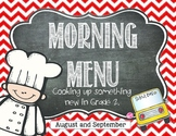 Morning Work: Morning Menu for Aug. and Sept. 2nd Grade