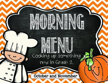 Morning Work: Morning Menu for Oct. and Nov. 2nd Grade