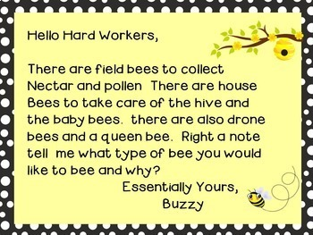 Morning Message - Bee Theme Work for Traditional and Digital Classrooms!