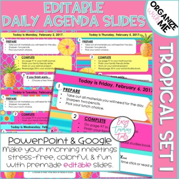 Morning Message Assignment Slides Editable Tropical Edition