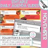 Morning Message Assignment Slides for November