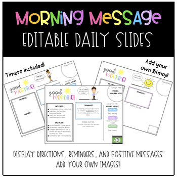 Morning Message Daily Slides with Timers - Add Your Own Bitmoji!