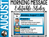 Morning Message Editable Slides - August