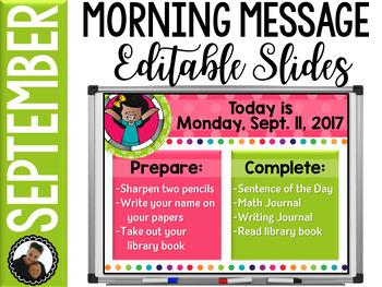 Morning Message Editable Slides - September