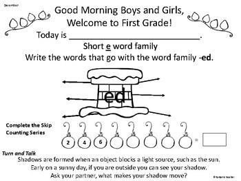 Morning Message. First Grade. December
