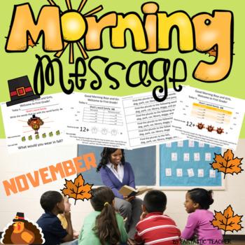 Morning Message. First Grade. November