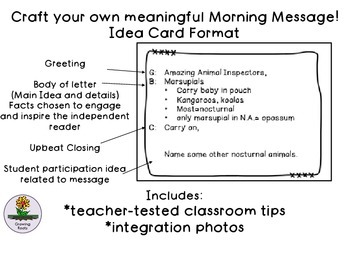 Morning Meeting Message Idea Cards
