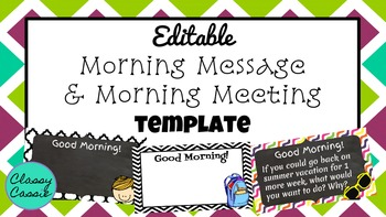 Morning Message, Morning Question, & Morning Meeting Templ