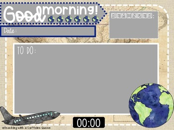 Morning Message PowerPoints in Travel Theme - Editable & with Timers!