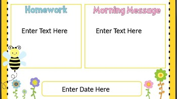 Morning Message Powerpoint Bee Themed
