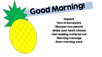 Morning Message Powerpoint Pineapple Theme Insert your own Bitmoji!