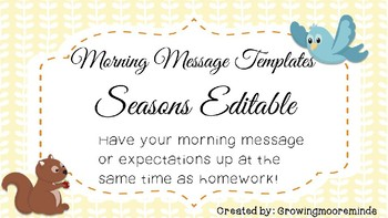 Morning Message Powerpoint Seasons